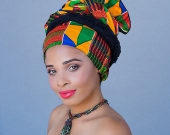 AUTUMN SALE African Kente Print Turban Dreads Wrap, Green Red Blue Yellow Head Wrap, Alopecia Scarf, Chemo Hat, Boho Gypsy Tribal, One Piece
