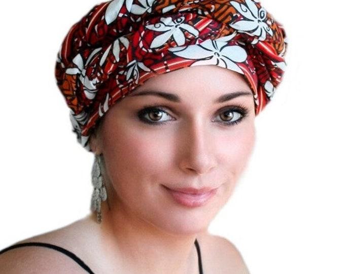 AUTUMN SALE Turban Dreads Wrap, Red Orange Black Floral Head Wrap, Chemo Hat, Boho Gypsy Tribal, 1 Piece Wrap