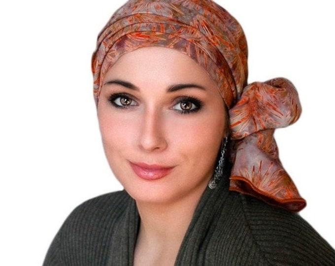 AUTUMN SALE Rust Leaves Batik Turban Hat Chemo Hat Head Wrap Alopecia Scarf Boho, Rust Cinnamon, Hat & Scarf Set