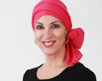 RETIREMENT SALE Save 50% Turban Diva Hot Pink Turban, Head Wrap, Chemo Hat, Hat & Scarf Set, Cotton Voile, Gift for Her