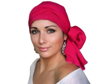 AUTUMN SALE Hot Pink Turban Hat Set, Head Wrap Alopecia Scarf, Chemo Hat, Fuchsia, Hat & Scarf Set, Rayon Challis