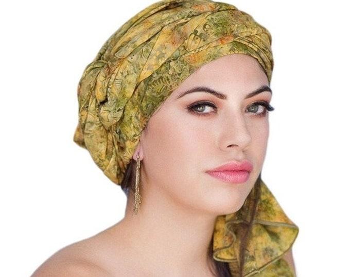 AUTUMN SALE Turban Dreads Wrap, Olive Floral Head Wrap, Chemo Hat, Boho, One Piece Fitted Wrap, Batik Turban