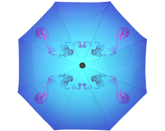 Automatic Open/Close Umbrella, Mermaid and Jellyfish, Gift, Teal, Turquoise, Blue