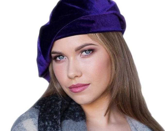 AUTUMN SALE Oversize 13 inch Beret, Purple Velvet Beret, Chemo Hat, French Beret, Large Beret, Slouchy Hat, Alopecia Hat