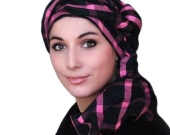 AUTUMN SALE Turban Diva Pink Black Plaid Turban Head Wrap, Chemo Hat, One Piece Wrap, Fitted Turban