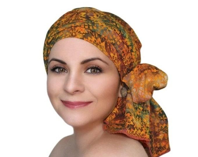 AUTUMN SALE Turban Diva Moroccan Dream Chemo Turban Hat Set, Orange Red Green Batik Head Wrap, Alopecia Scarf, Chemo Hat, Cancer Hat & Scarf