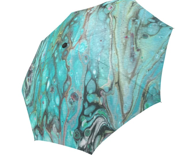 Automatic Open/Close Umbrella, Gift, Green, Teal, Turquoise, Gray, Abstract