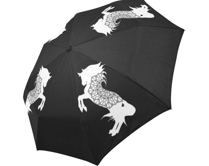 Automatic Open/Close Umbrella, Rearing Horse Mandala, Black and White