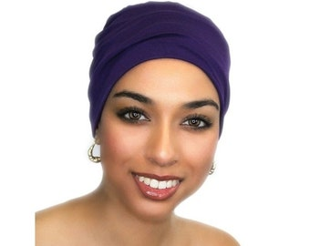 AUTUMN SALE Chemo Hat, Sleep Hat, Alopecia Cap, Scarf Liner, Slouch Hat, Pretied Turban, Purple Beanie