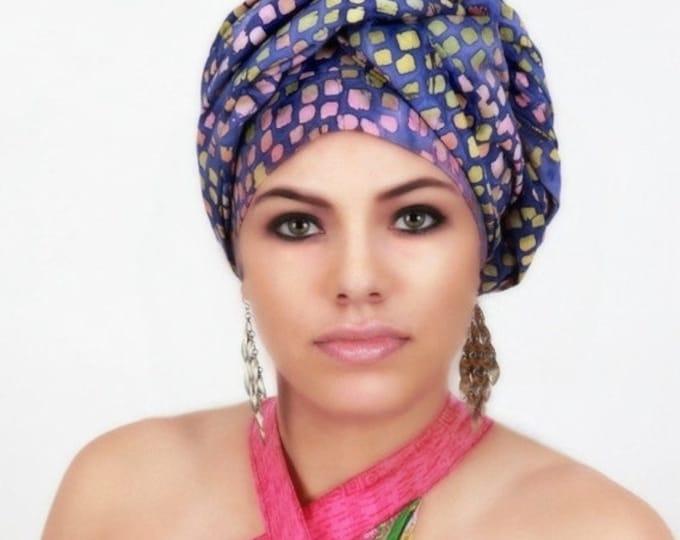 AUTUMN SALE Purple Raindrop Turban Dreads Wrap, Head Wrap, Alopecia Scarf, Chemo Hat, Boho Gypsy Tribal, One Piece Wrap, Cotton Turban
