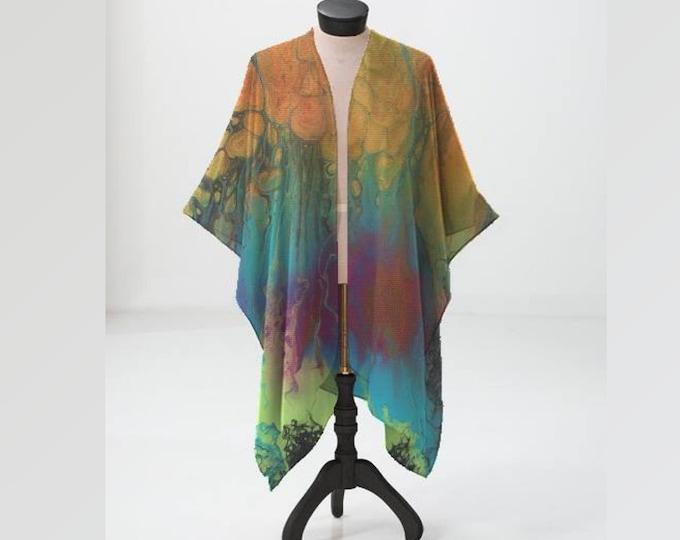 Sheer Kimono, Chiffon Wrap, Firefall Pattern, Orange, Teal, Turquoise, Green, Blue, Pink