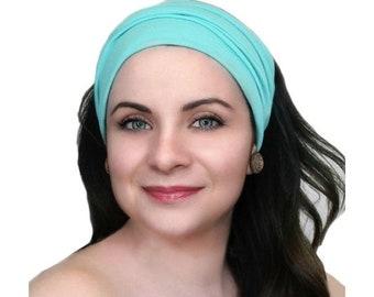 RETIREMENT SALE Save 50% Turban Head Band, Yoga headband, Wide Headband, Exercise Headband, Pretied Turban, Aqua, Turquoise