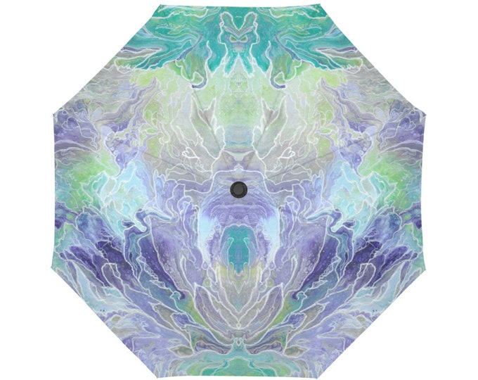 Automatic Open/Close Umbrella, Gift, Teal, Turquoise, Purple, Abstract