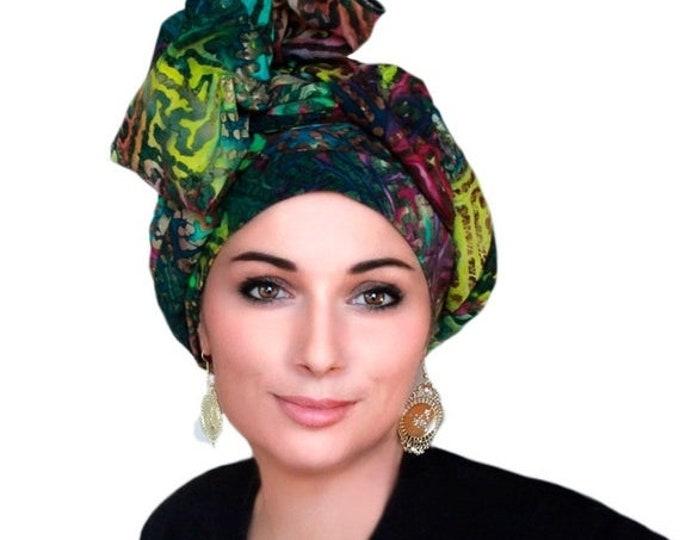 AUTUMN SALE Turban Dreads Wrap, Green Purple Gold Cotton Head Wrap, Alopecia Scarf, Chemo Hat, Boho Gypsy Tribal, 1 Piece Wrap