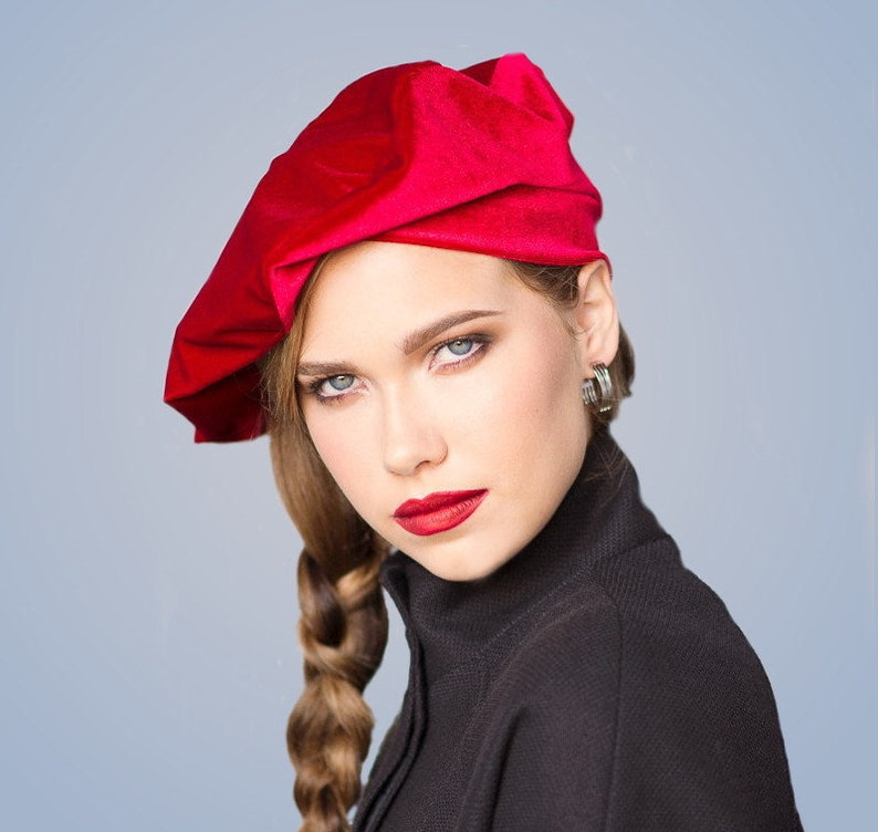 23037a131a71c Oversize 13 inch Beret Red Velvet Beret French Beret Large
