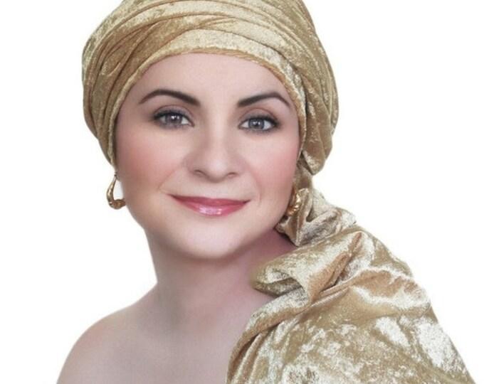 AUTUMN SALE Turban Diva Gold Velvet Turban, Head Wrap, Chemo Hat, One Piece Wrap, Fitted Turban
