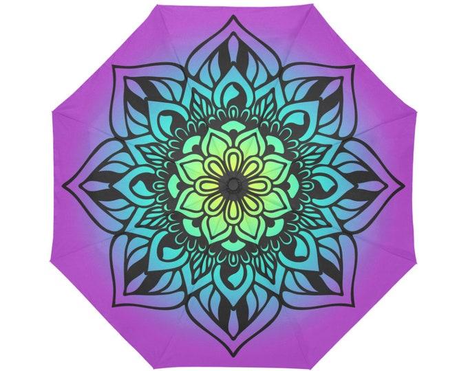 Automatic Open/Close Umbrella, Mandala, Fuchsia, Gold, Purple, Chakra