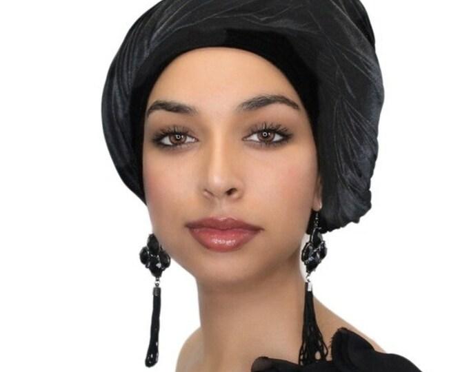 AUTUMN SALE Turban Diva Black Velvet Turban, Head Wrap, Chemo Hat, Alopecia ScarfOne Piece Fitted 332-03
