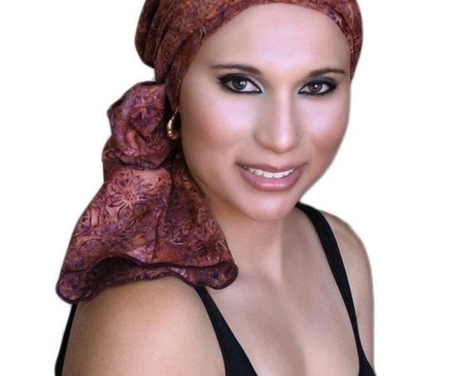 AUTUMN SALE Rust Floral Batik Turban Hat Chemo Hat Head Wrap Alopecia Scarf Boho, Rust Cinnamon, Hat & Scarf Set