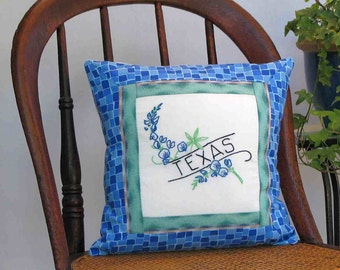 Texas flower pillow,  vintage embroidery, bluebonnet, cabin, cottage, farmhouse decor--a keepsake gift. Includes pillow form.