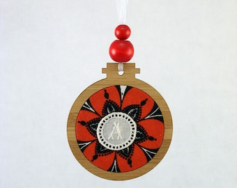Monogram Christmas ornament gift, with vintage embroidery, wood, fabric, beads, gift for her, A, any letter available