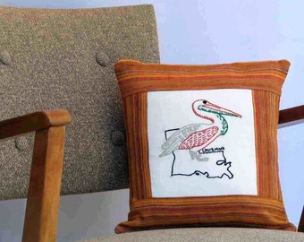Louisiana pelican pillow, cabin, cottage, farmhouse decor with vintage hand-embroidery -- a keepsake gift. Includes pillow form.