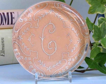 C monogram paperweight, vintage embroidery, coral salmon color, gift for her, desk decor, wedding decor