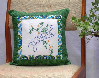 Florida pillow, vintage embroidery, orange blossom, cottage chic -- a keepsake gift. Includes pillow form.