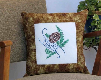 Maine pine cone pillow,  vintage embroidery, cabin, cottage, farmhouse decor -- a keepsake gift. Includes pillow form.