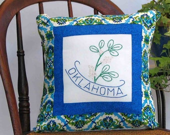 Oklahoma flower pillow, cabin, cottage, farmhouse decor with vintage hand-embroidered quilt block -- a keepsake gift. Includes pillow form.