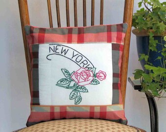 New York flower pillow, rose, vintage embroidery, cabin, cottage, farmhouse, dorm decor -- a keepsake gift. Includes pillow form.