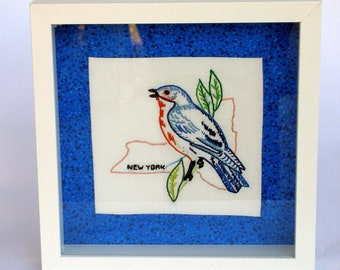New York and all states vintage embroidered quilt block framed in shadowbox, state bird, bluebird, any state available, custom-made