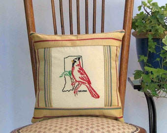 Indiana cardinal pillow, cabin, cottage, farmhouse decor with vintage embroidery -- a keepsake gift. Includes pillow form.