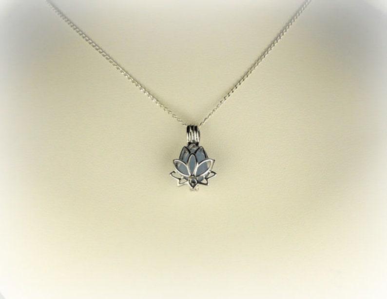 Lotus Necklace GENUINE Sea Glass Zen Yoga Jewelry Sterling Silver