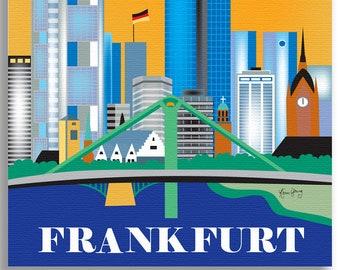 SALE Frankfurt 11x14 Canvas Wrap, Frankfurt Germany Vertical Canvas, German Travel Gift, Frankfurt Artwork, Loose Petals, style CW-11-FRAN