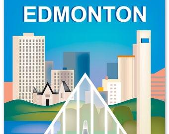 Edmonton Print, Edmonton Skyline, Edmonton Art, Canada Print, Edmonton giclee Print, Edmonton Art, Edmonton vertical art, style - E8-O-EDM