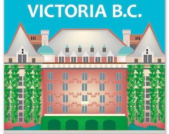Victoria Print, Victoria B.C. Skyline, Victoria B.C. Art, Canada Print, Victoria Giclee Print,  Victoria vertical art, style - E8-O-VIC