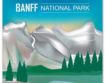 Banff National Park Poster, National Park Art, Canada Travel Poster, Banff Park skyline, Banff Park Map, Canada Gift, Art - style E8-O-BANF