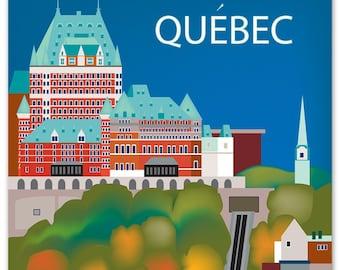 Quebec Print, Quebec Skyline, Quebec Art, Canada Print, Quebec Giclee Print, Quebec Art, Quebec Decor, Quebec vertical art, style - E8-O-QUE