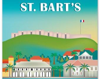 St. Bart's Artwork, St. Bart's Vertical Skyline Print, Gustavia Poster, St. Bart's Art Gift, St. Bart's Travel wedding Gift - style E8-O-STB