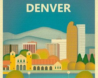 Denver, Colorado skyline print, denver poster, colorado poster, denver art,  washington park boathouse, denver canvas wrap  E8-O-DENV