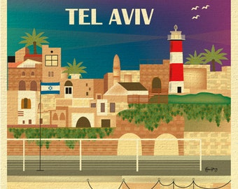Tel Aviv Skyline Art Print, Israel Retro Travel Poster, Tel Aviv Wall Art, Tel Aviv Print Vertical, Loose Petals City Art - style E8-O-TEL