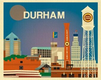 Durham Skyline Art Print,  Durham Poster, North Carolina Art Print, Durham wall art, Durham NC Map, Loose Petals horizontal art - E8-O-DUR