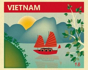 SALE Vietnam Skyline 11x14 Art Print, Halong Bay Skyline Art Print, Vietnam Retro Travel Art, Loose Petals City -  style E11-O-VIE