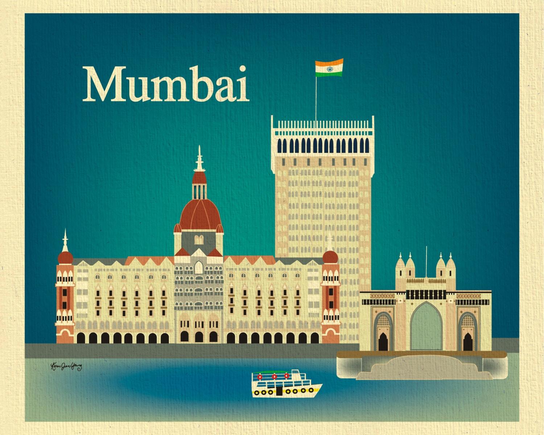 Mumbai Print Skyline Art India Travel Poster Gateway of | Etsy