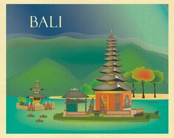 Bali Skyline Art Print of Temple, Indonesia Travel Poster, Horizontal Bali Wall Art, Idonesian Gift, Loose Petals City Art, style E8-O-BALI