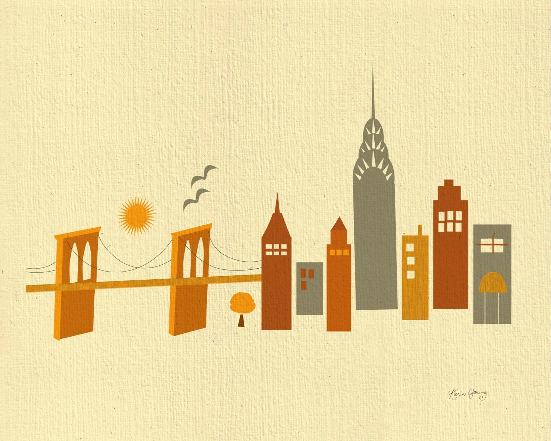 New York City Skyline Print NYC Wall Art map Brooklyn Bridge | Etsy