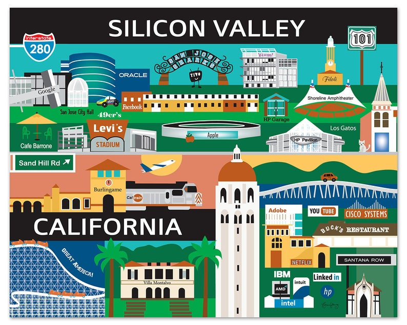 Silicon Valley Print, Silicon Valley Poster, San Jose, Palo Alto, Stanford on san diego map, silicon hills map, napa county map, palo alto map, los angeles map, san jose map, san francisco map, bay area map, silicon beach map, east valley zip code map, san ramon valley map, santa barbara map, valley of mexico map, east bay map, silicon forest map, alameda county map, sacramento map, santa clara map, mountain view map, blossom valley map,