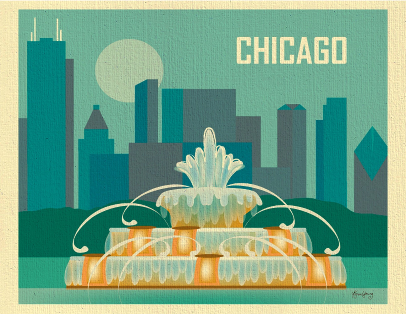 Chicago Art Print Skyline Chicago Wall Art Buckingham   Etsy