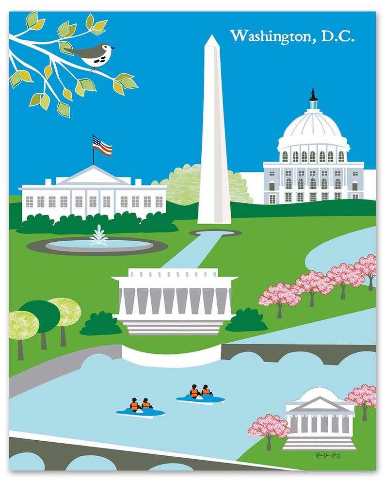 Washington DC skyline art print dc map dc wall art dc | Etsy
